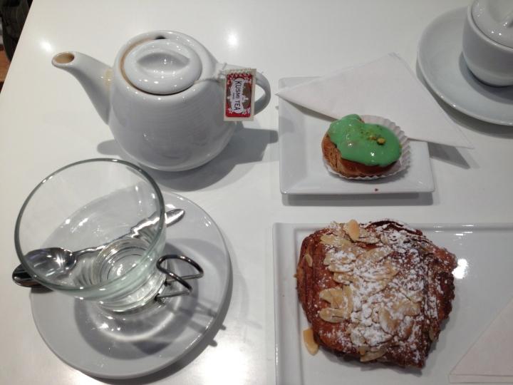 Green Darjeeling Tea, Chocolate Croissant and Pistachio Petite Choux