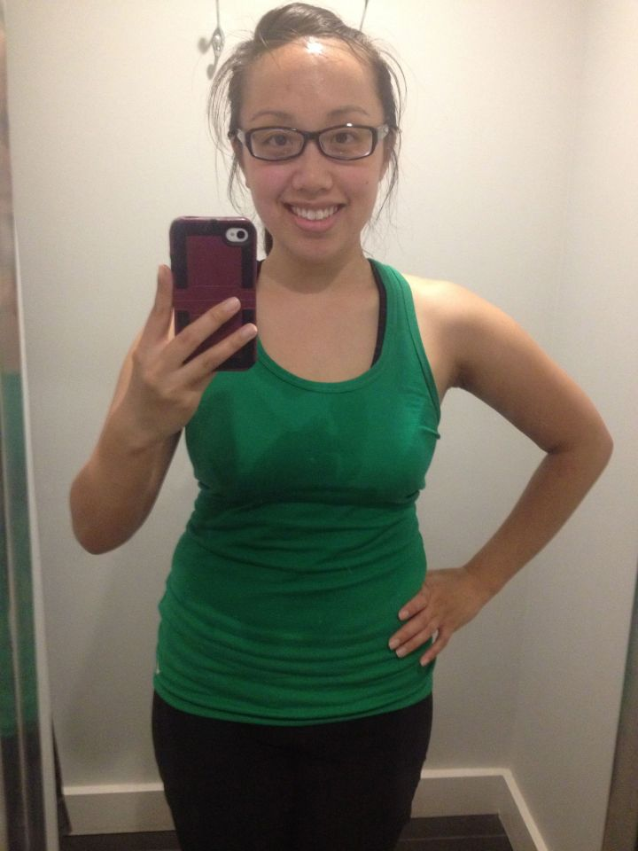 Post First Class at Lagree. Notice how drenched my shirt is.
