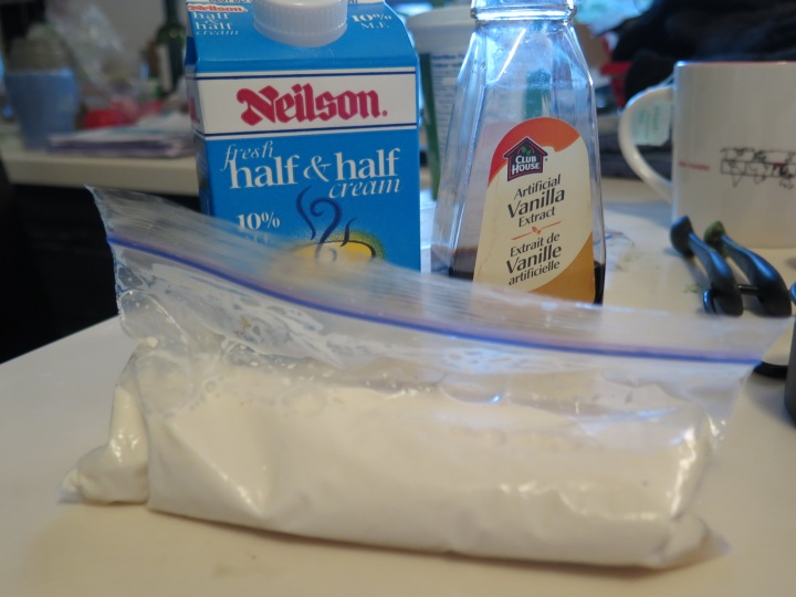 Half & Half, Vanilla Syrup, Small sealable bag.